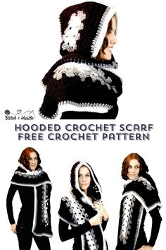 Exceptional Stitches Make a Crochet Hat Ideas. Extraordinary Stitches Make a Crochet Hat Ideas. Hooded Scarf Pattern, Crochet Hooded Scarf, Crochet Hoodie, Hoodie Pattern, Crochet Scarves, Crochet Shawl, Crochet Clothes, Knit Crochet, Crocheted Scarf