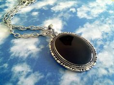 black enamel oval pendant necklace Tibetan by KikisCollections, $16.00