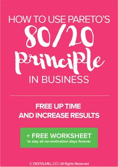 80% of any results you book in your business comes from only 20% of the  efforts you put in.  The implications of this are BIG: it means that you can cut down 80% of the  work/effort you're putting into your business, which isn't productive or  doesn't contribute to 80% of the results in attaining your end goals, and  still create outstanding results.