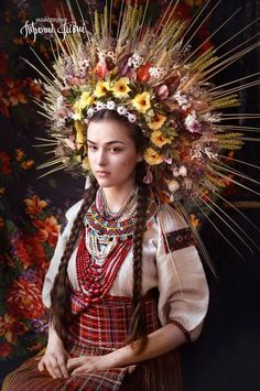 Resurrecting the Incredible Flower Crowns of Old Ukrainian Wedding Photos - Atlas Obscura Floral Headdress, Wedding Headdress, Bridal Crown, Folk Costume, Red Hats, Traditional Dresses, Women Wear, The Incredibles, Celebrities