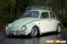 We want a 1963 vw bug like this, but all in seafoam green and original rims and hubcaps.