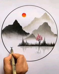 Art Drawings Beautiful, Art Drawings Sketches Simple, Pencil Art Drawings, Diy Canvas Art, Canvas Painting Tutorials, Oil Pastel Art, Art Tutorials, Watercolor Art, Chinese Painting Flowers