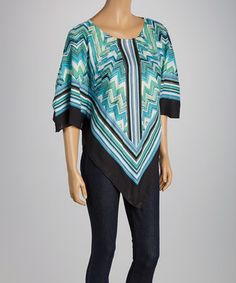 Turquoise & Black Zigzag Cape-Sleeve Top