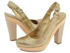 Nine West Chunky Platform Shoes Gold Bronze Reptile Dress Heels Pumps Womens Size 9.5 @modtoast.....  I NEED these shoes!!