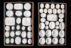Collection of 19th Century Grand Tour plaster seal impressions, two trays with various classical figures and scenes