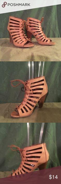 5cea3e94fc Heart in D Brown High Heel cutaway lace up Bootie