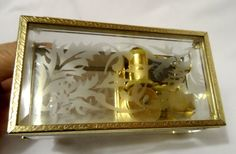 YUNSHENG Etched Glass Vintage MUSIC Jewelry Box Mirrored & Faceted collectible #Yunsheng