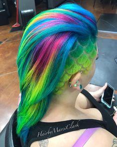 Rainbow Mermaid!  #hairbymarciclark #hairtattoo #undercut #undercutgirls #undercutdesign #fiidnt #dyedgirlies #dyeddollies #iwanttobemobbed #hairdesign #1000orbust #hairporn #beautylaunchpad #hotonbeauty #authentichairarmy #americansalon #rainbowhair #rainbowhaircolor #neonhair #hypercolor #neonrainbow #sandarthair #mermaidhair #mermaidians #mermaidscales #unicornhair #unicorntribe #lollypoplocks #btcpics #behindthechair
