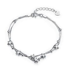 Hot Women jewelry 925 sterling silver bracelet &bangles Silver Elegant Star Charm Bracelet  for women Wedding Jewelry #Affiliate