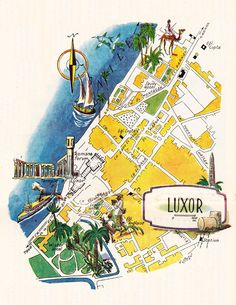 old mapap of Luxor Egypt, a pictorial map by Jacques Liozu, 1946, this is a good source for high quality printable vintage maps and illustrations