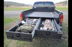 Hidden drawers in bed of truck