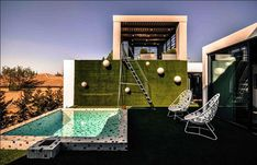 container house with square pool