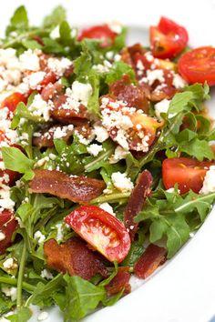 Sugar & Spice by Celeste: BLT Salad with Arugula, Feta and Balsamic Vinaigrette - Yumm Feta! I bet chicken would be good in it too. Blt Salad, Salad Bar, Soup And Salad, Arugula Salad, Peach Dish, Great Recipes, Favorite Recipes, Recipe Ideas, Yummy Recipes