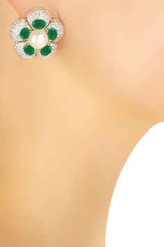 Silver plated emerald stone flower earrings by Shrruti Tapuria for Whatever. Shop now: http://www.perniaspopupshop.com/designers/whatever-by-shrruti-tapuria #earrings #whatever #shopnow #perniaspopupshop