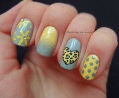 Gray blue and pastel yellow.