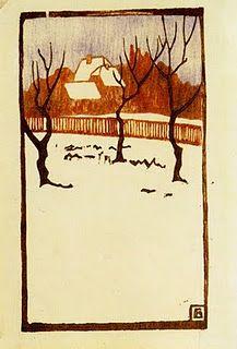 Winter Woodcut by Fritz Bleyl, 1880-1966, German artist
