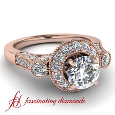 Vintage Round Diamond Engagement Ring Pave set in Rose Gold