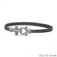 Black Rhodium Plated Sterling Silver Bangle with CZ Horseshoe Closure