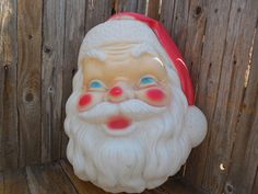 EMPIRE 1968 Blow Mold Plastic SANTA CLAUS Head Face Christmas Holiday Lighted Ornament Outdoor