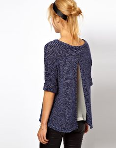 Buy ASOS Knitted Rolled Sleeve Tee With Chiffon Insert at ASOS. With free delivery and return options (Ts&Cs apply), online shopping has never been so easy. Get the latest trends with ASOS now. Latest Fashion Clothes, Fashion Outfits, Womens Fashion, Mode Outfits, I Love Fashion, Refashion, Pretty Outfits, Lana, Knitwear