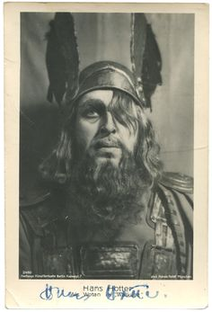 "Hans HOTTER Hans Holdt Munchen photo of the LEGENDARY Wagnerian as a traditionally costumed WOTAN in ""Die Walkure""- more uncommon than the new Bayreuth photos. Old fashioned costuming."