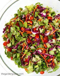 Flavorful Asian chopped salad with an easy sesame vinaigrette! Great make-ahead dish (vegan, gluten-free)
