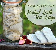 Using bath tea bags is the easiest and most convenient way to get healing herbs into your bath tub. Bath Tea Bags are made with dried herbs. I have a large jar full of them in the bathroom cupboard. Bath tea bags are easy to create and make great gifts. Bath Recipes, Tea Recipes, Homemade Beauty, Diy Beauty, Salud Natural, Natural Herbs, Natural Skin, Bath Tea, Diy Spa