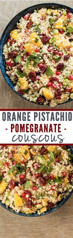 Orange Pistachio Pomegranate Couscous | Recipes From A Pantry #couscous #howtocookcousocus #orangecouscous #pomegranatecouscous #couscoussalad