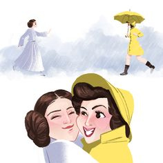 Debbie Reynolds from Singin' in the Rain and her daughter Carrie Fisher from Star Wars. Together again in a better place. - Art by kathudsonart via Tumblr.