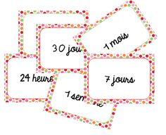 Petit jeu sur les unités de temps/durée. Deux façons pour y jouer : la bataille de façon classique jeu de paires : il s'agit d'associer les durées de temps identiques clic sur les cart…
