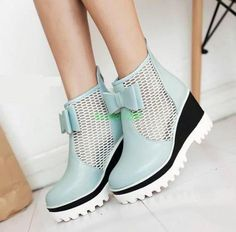 9f62e1e44ef Womens Platform Bowknot mesh Sandal Wedge Heel Shoes Vogue zip up ankle  boots