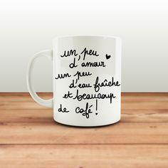 Mug personnalisable Un peu d'amour Beaucoup de café ! - Cadeau original : Vaisselle, verres par la-chouette-mauve