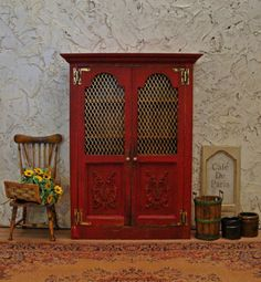 French Country Ox Blood Screened Cabinet 1:12 Scale Miniature Dollhouse Furniture