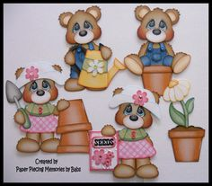 Spring Bear Set Premade Paper Piecing for Scrapbook Pages by Babs