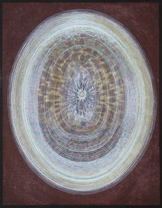 Leo Kenney - Seed and Beyond II, 1964 - Gouache on Chinese paper mounted on wood - 19 × 15 in - Seattle Art Museum Gouache, Abstract Expressionism, Abstract Art, Cosmic Egg, Seattle Art Museum, Brain Art, Geometric Art, Sacred Geometry, North West