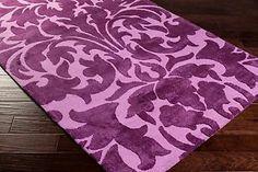 Kids Girls Damask Area Rug Nursery Bedroom Looped Lavender Purple Violet