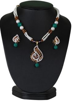 Charming Indian designer fashion beaded necklace with simulated light purple cz pendant-CJBEAD53  http://www.craftandjewel.com/servlet/the-1917/Charming-Indian-designer-necklace/Detail