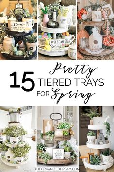 : 15 Pretty Tiered Trays for Spring farmhouse decor homedecor decorate style
