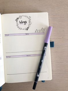 Bullet journal blog planner layout