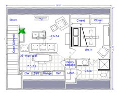 Bainbridge 24x30 Garage Apartment I would remove the linen access in the bathroom, make that space part of the pantry, and add a claw foot tub across the left bathroom wall. Sink goes where the shower is now.