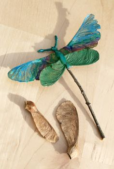 dragonfly decorations from leaves & more... Autumn woodland treasure sculpture