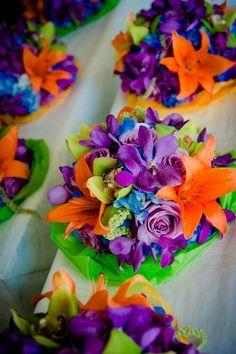 Purple, Orange, Green & Blue Wedding Bridesmaid Bouquets {Michael Novo Photography} - mazelmoments.com: