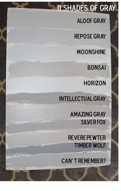 southern state of mind: Fifty Shades of Grey. Our House Paint Colors, repose gray, slate gray.I love the repose gray! Interior Paint Colors For Living Room, Paint Colors For Home, Paint Colours, Light Grey Paint Colors, Gray Color, Interior Colors, Gray Interior, Wall Colors, House Colors
