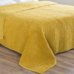 Trapunta piqué giallo senape in velluto 240 x 260 cm