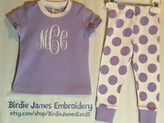 Girly monogram Easter pajamas pjs - applique embroidery yellow pink purple blue green & white stripes polka dots baby toddler vinyl sparkle by BirdieJamesEandS on Etsy https://www.etsy.com/listing/223701351/girly-monogram-easter-pajamas-pjs