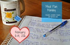 Darcie's Dishes: Meal Plan Monday: 2/8-2/14/16 // A budget friendly one week meal plan that includes all meals, snacks and drinks. The entire meal plan is Trim Healthy Mama compatible and printable.