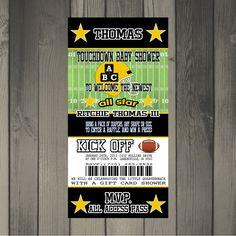 Pittsburgh Steelers Inspired Football Baby Shower Invitation. $15.00, via Etsy.