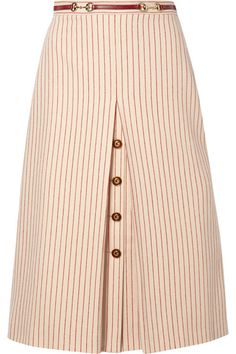 Indian style 104005072644497335 - Gucci – Leather-trimmed Paneled Pinstriped Wool Midi Skirt – Ivory Source by netaporter Cotton Maxi Skirts, Pleated Skirt, Midi Skirt, Wool Skirts, Dress Skirt, Skirt Outfits, Cute Outfits, African Fashion, Fashion Dresses