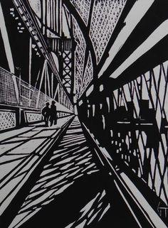 Brooklyn Bridge - New-York - Linocut, Geraldine Theurot, Print Woodcut Art, Linocut Prints, Art Prints, Brooklyn Bridge New York, Manhattan Bridge, Art Postal, Collagraph, Scratchboard, Black And White Illustration