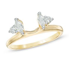 1/3 CT. T.W. Marquise and Round Diamond Solitaire Enhancer in 10K Gold
